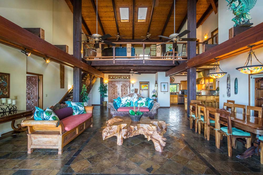 Main living room of Kahana Nui oceanfront estate.