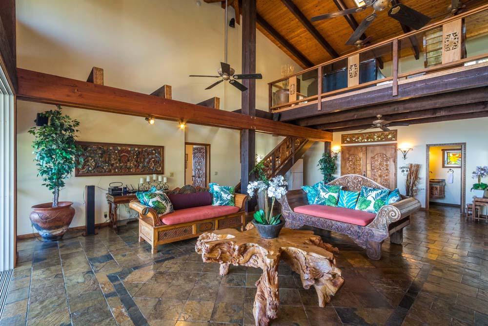 Main living room of Kahana Nui oceanfront estate.